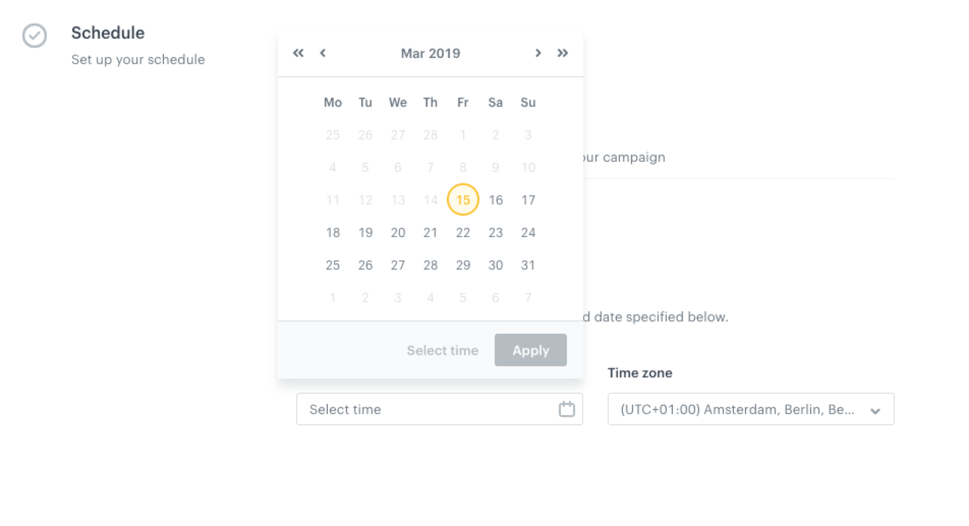 Image presents a calendar in a scheduler with one date picked