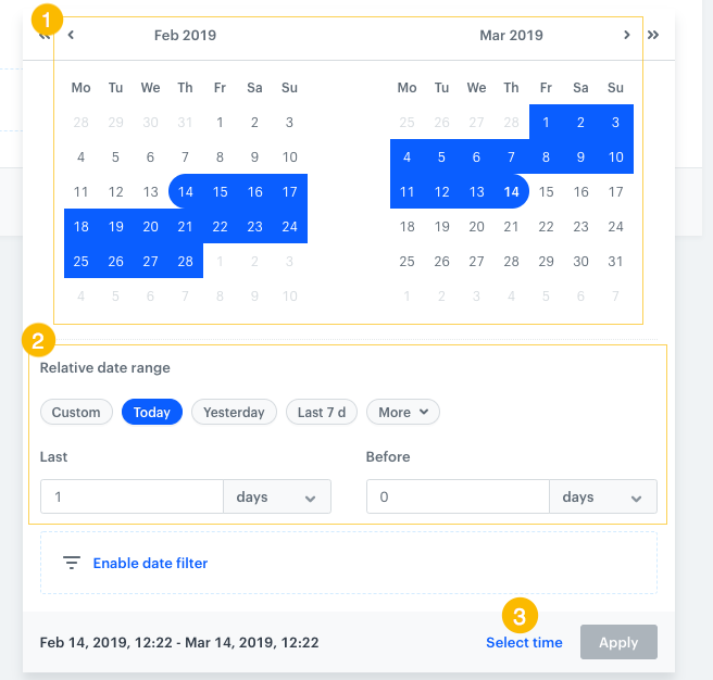 Image presents two calendars with period marked blue and relative date range picker.