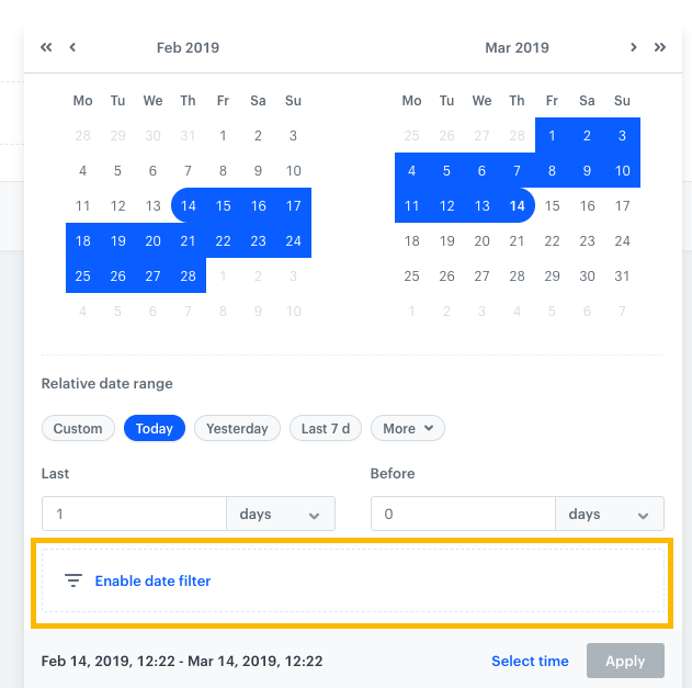 Image presents two calendars and section enable date filter marked.