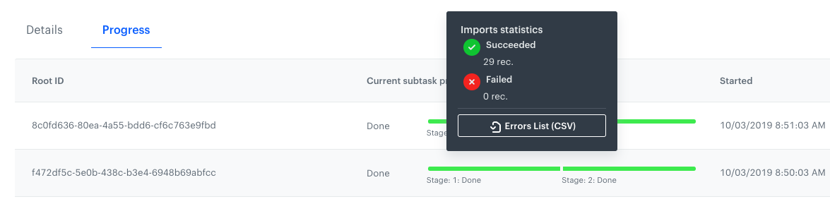 Image presents a progress bar for an import that is completed successfully