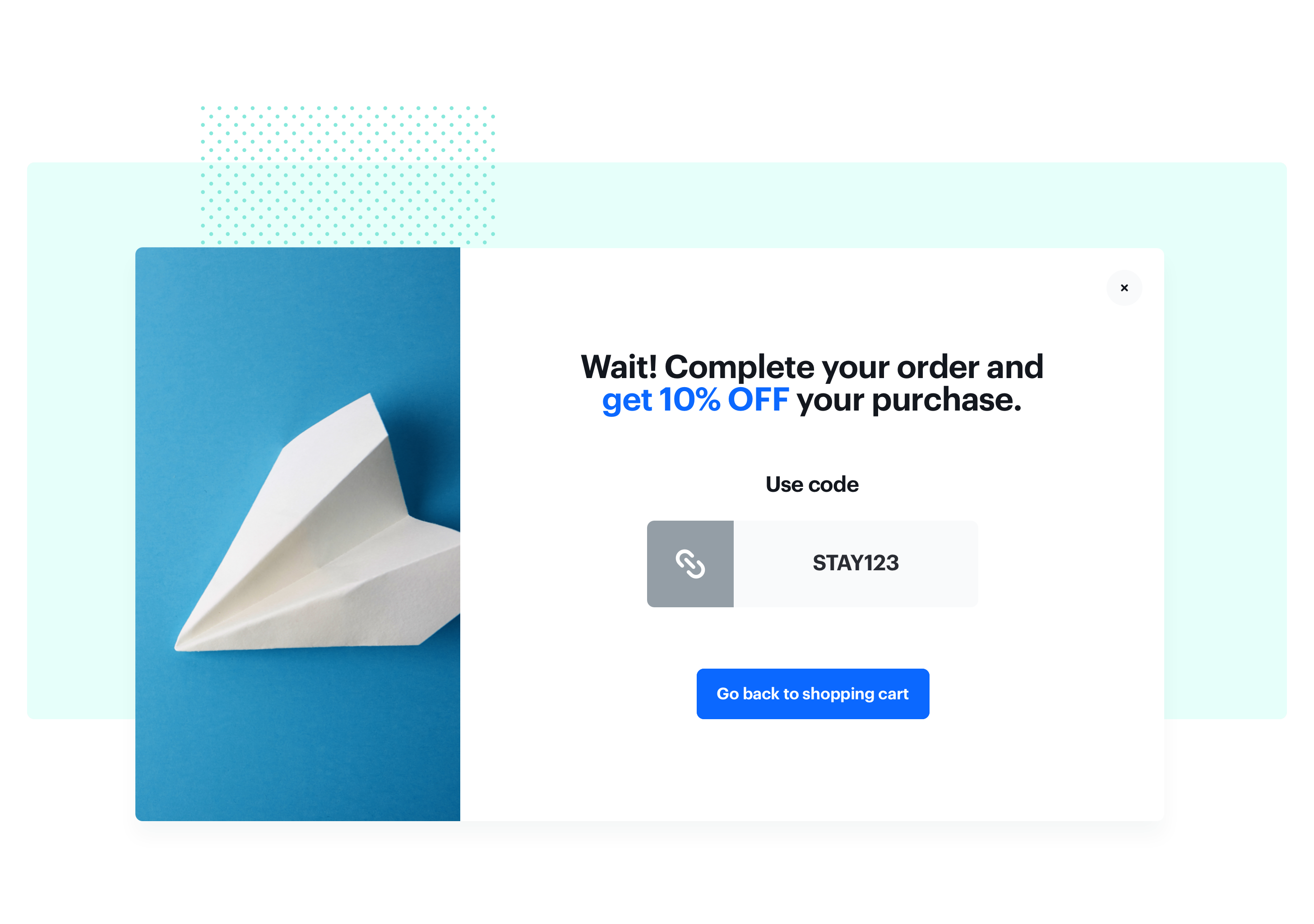 Screenshot presenting discount for customers who hesitate