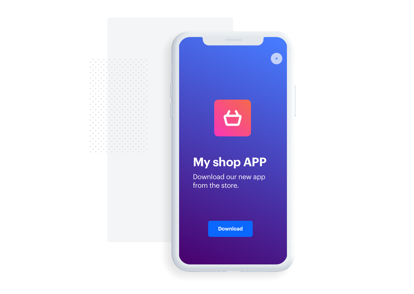 Screenshot presenting how to encourage customers to download the app