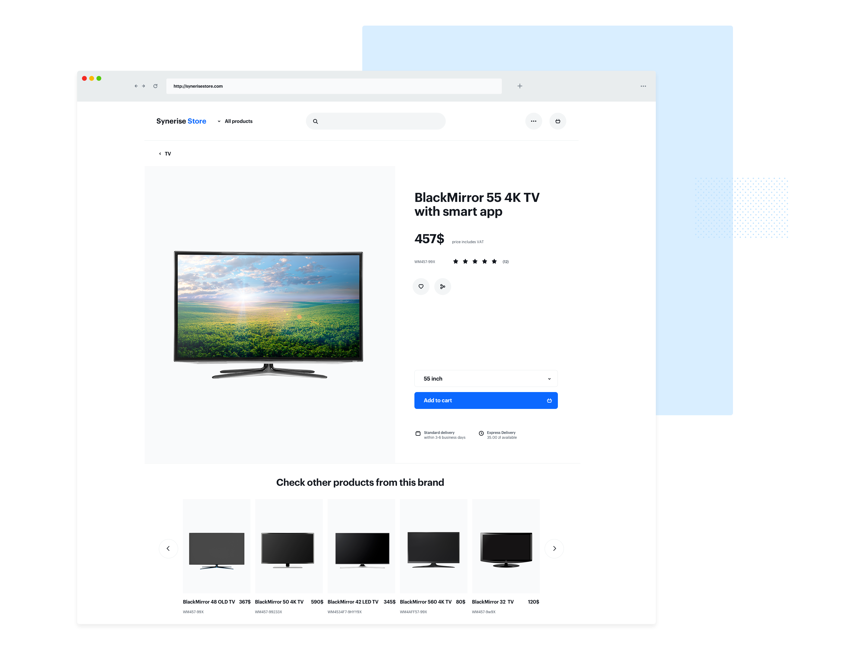 Screenshot presenting recommendations of products from the same brand